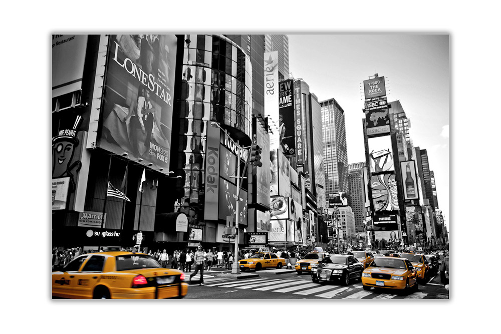 black and white new york city with yellow taxi 39 s city poster art wall prints ebay. Black Bedroom Furniture Sets. Home Design Ideas