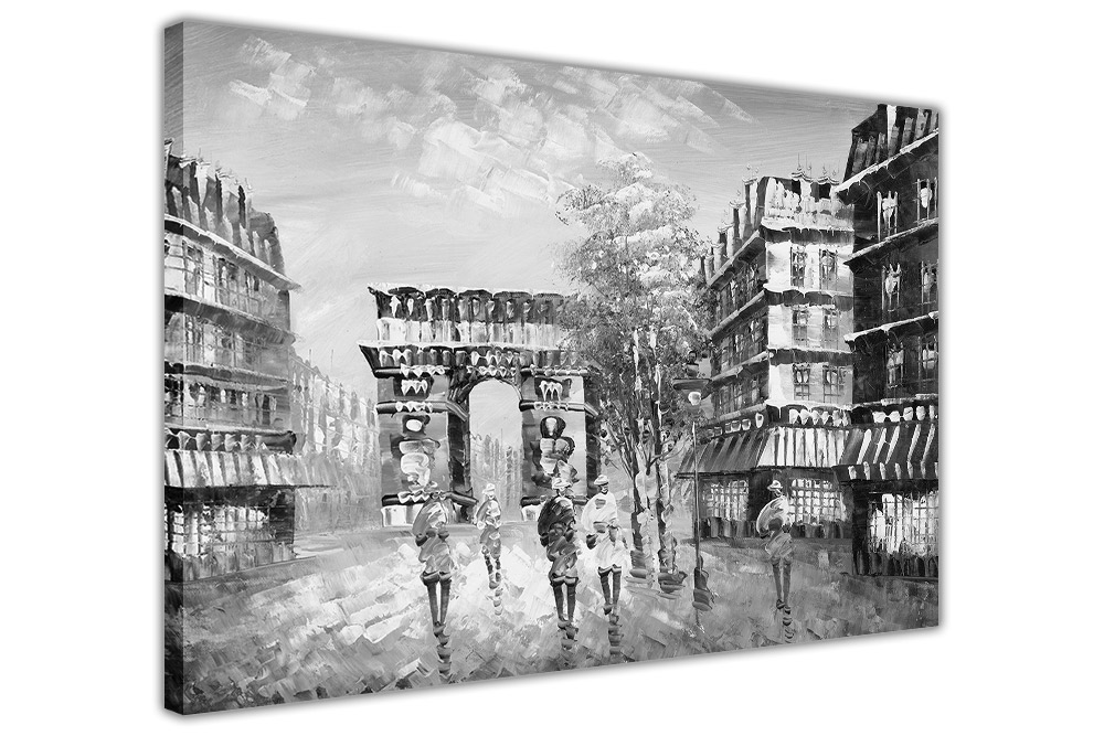 Arc de triomphe in paris on framed canvas