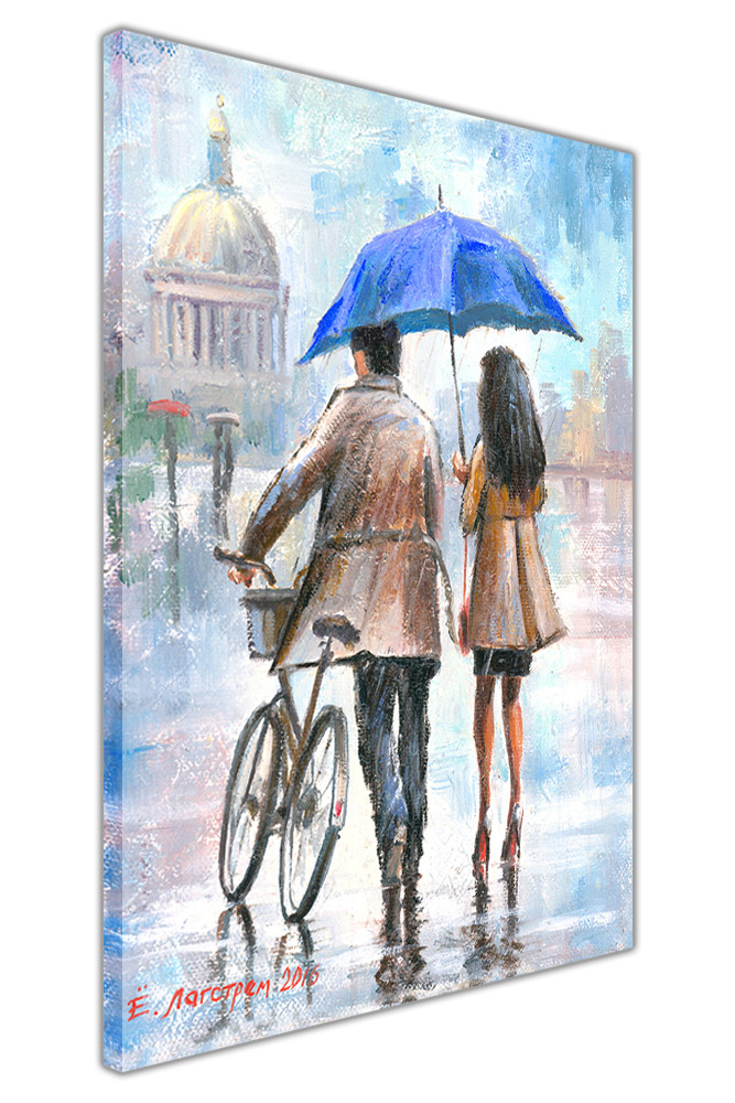 Couple Holding Umbrella on Framed Canvas Pictures Wall Art Home ...