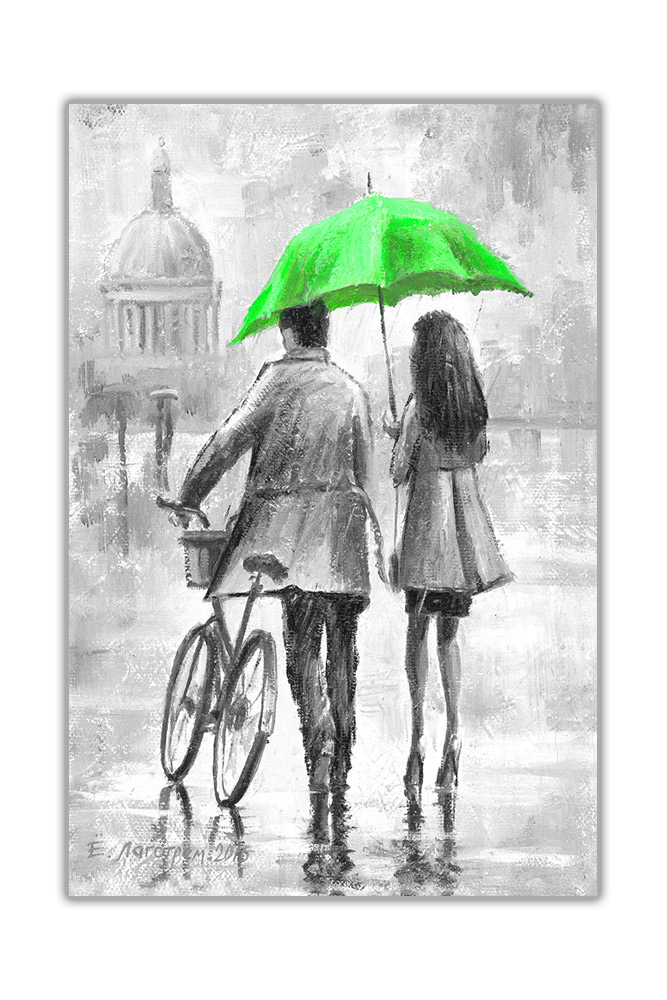 Black and White Couple Holding Umbrella on Framed Canvas Pictures