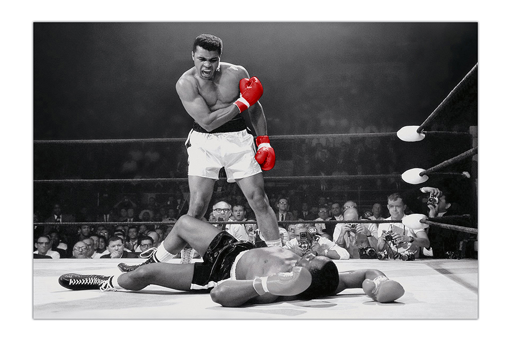 Image is loading black and white muhammad ali with red gloves