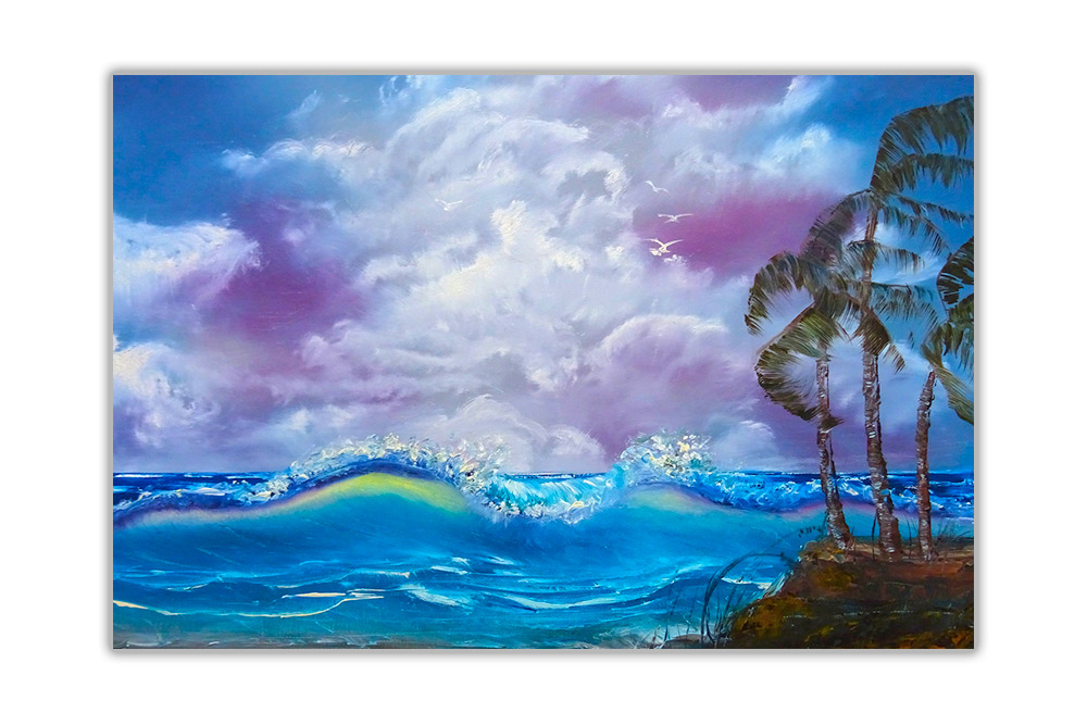 palm trees and waves posters art prints home decoration oil painting