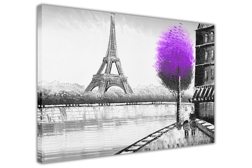 Trees in Paris Framed Canvas Wall Print Home Art Pictures Oil ...