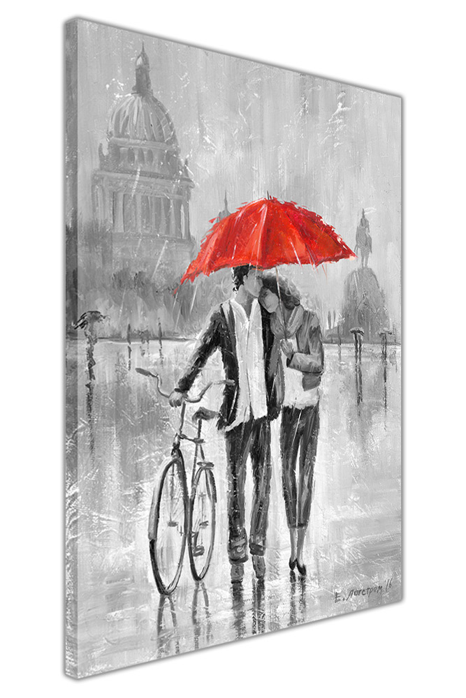 Black and White Couple With Umbrella and Bicycle on Framed Canvas ...
