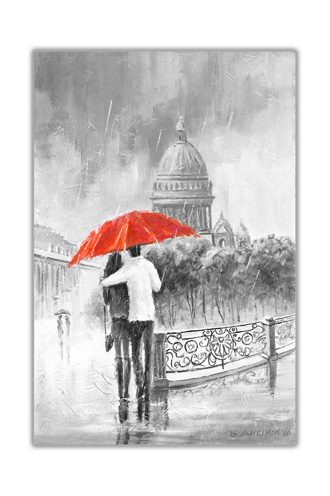 Black and White Couple with Umbrella on Bridge Framed Canvas Art Picture Print